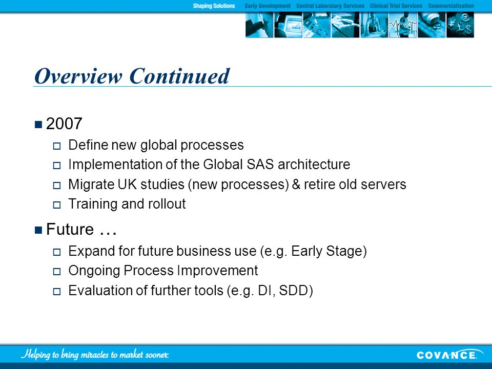Overview Continued 2007 Future … Define new global processes