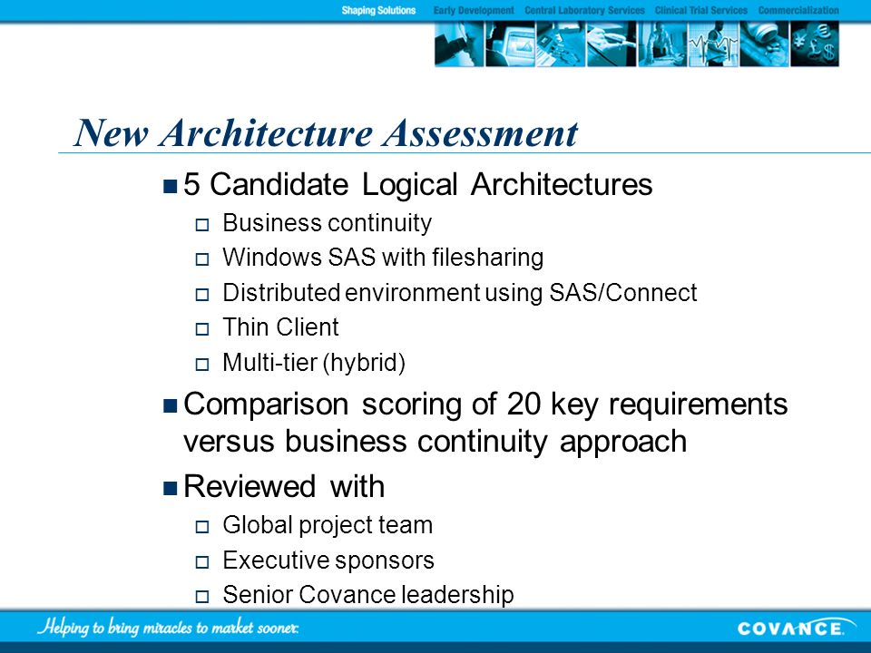 New Architecture Assessment