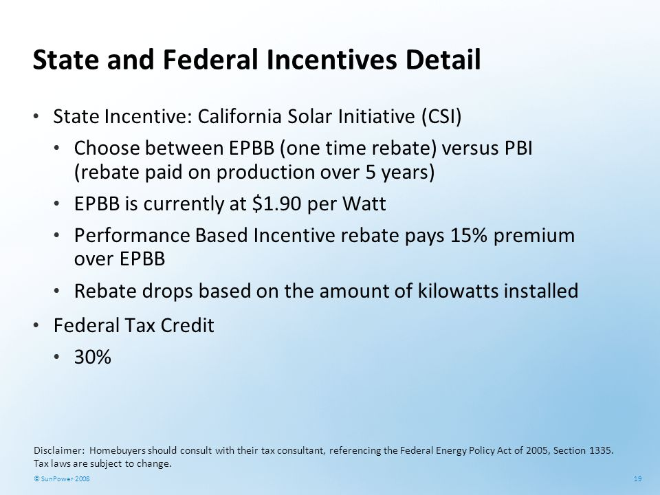 State and Federal Incentives Detail
