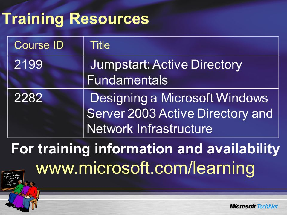 For training information and availability www.microsoft.com/learning