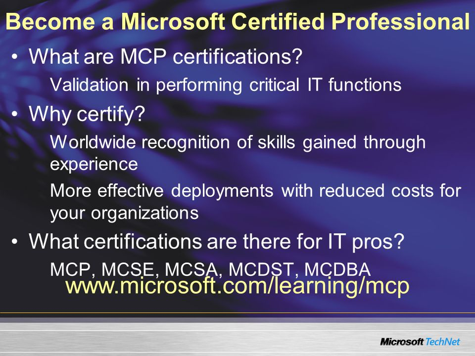 Become a Microsoft Certified Professional
