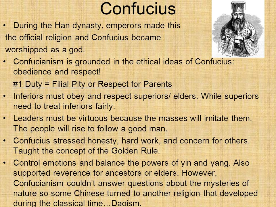 Confucius During the Han dynasty, emperors made this