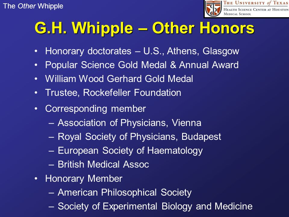 G.H. Whipple – Other Honors