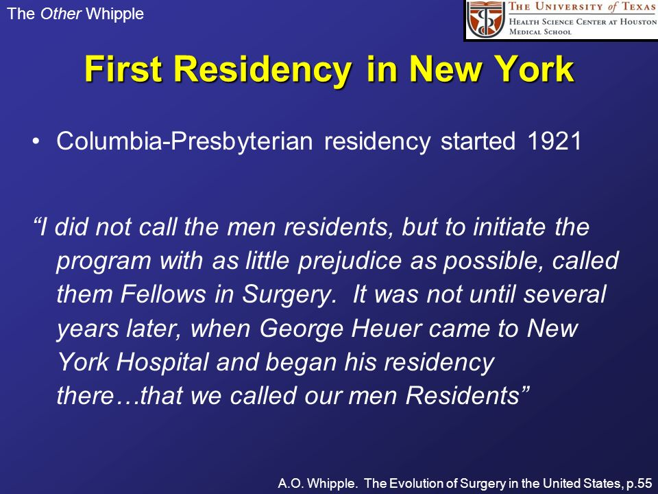 First Residency in New York