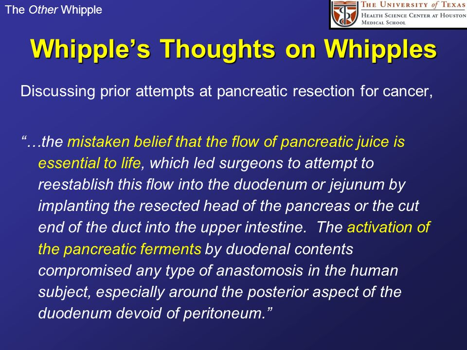 Whipple's Thoughts on Whipples