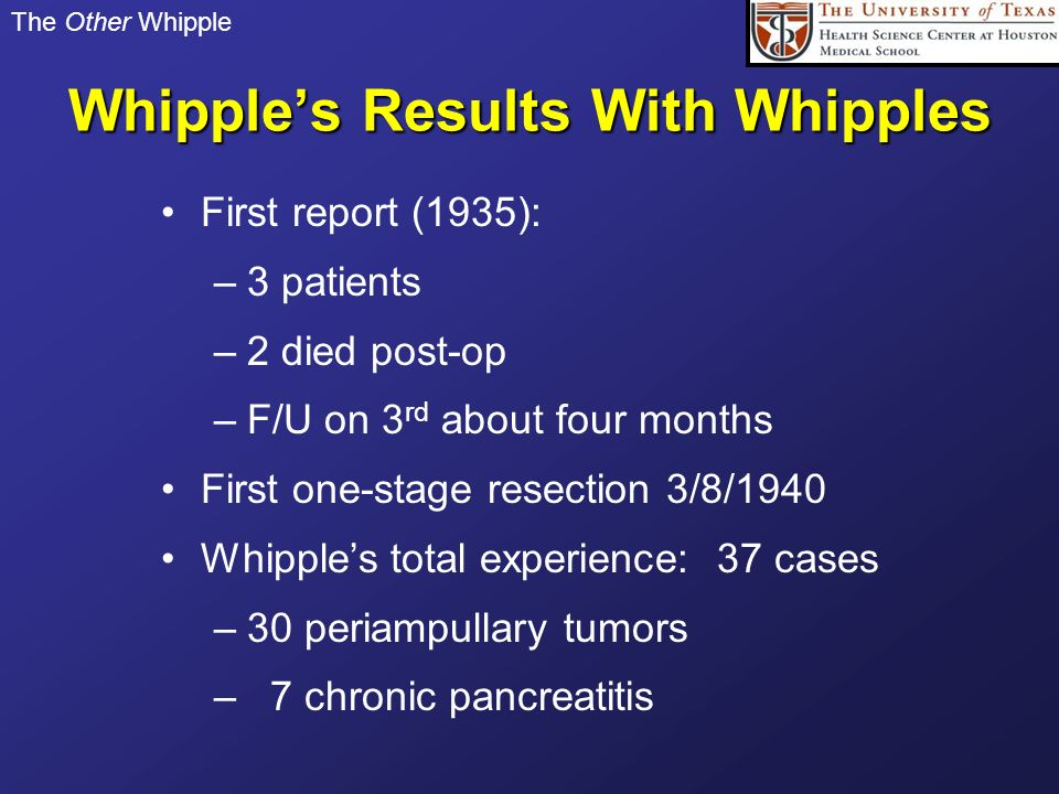 Whipple's Results With Whipples