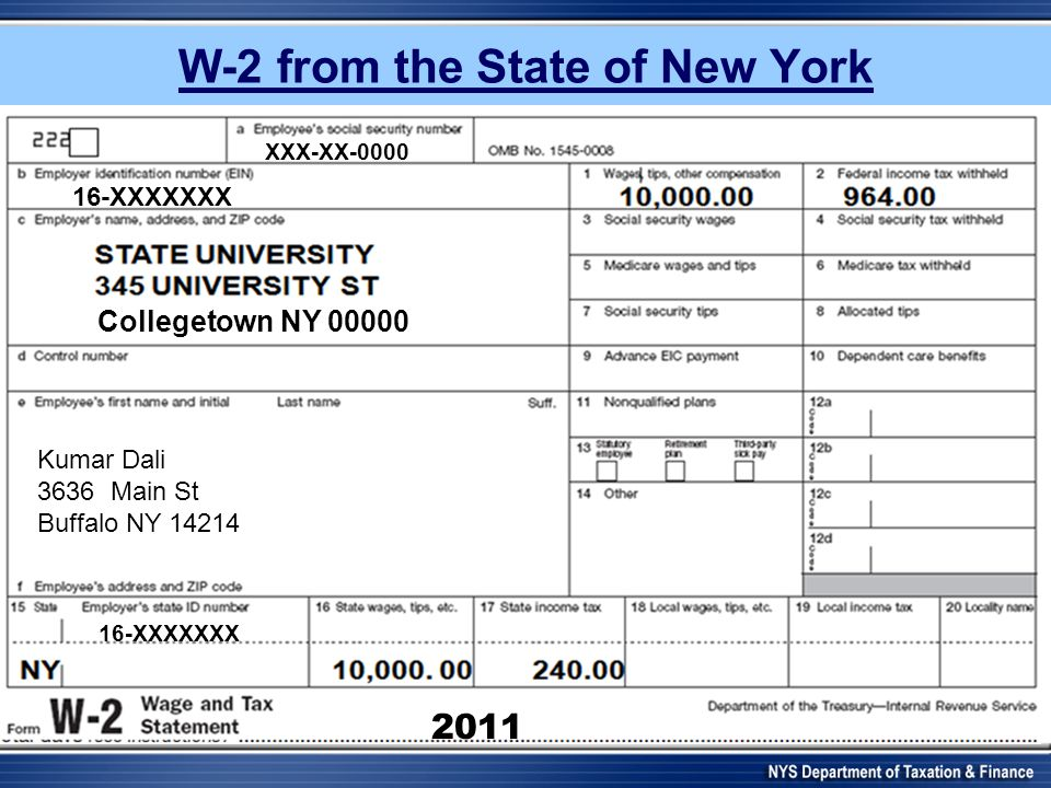 w2 form nyc  New York State Department of Taxation and Finance - ppt ...