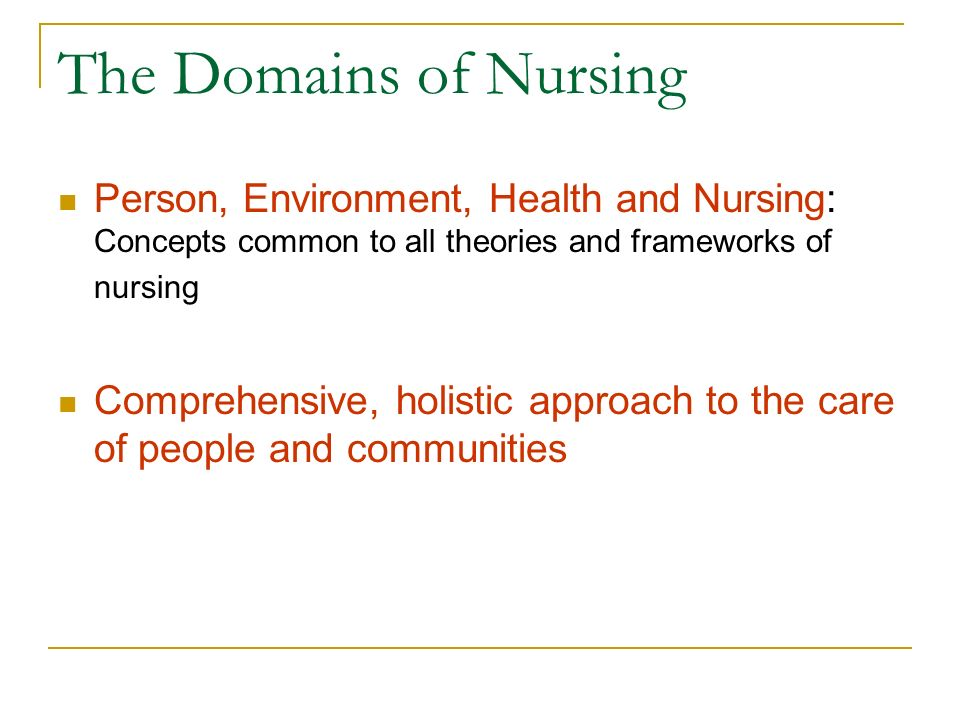 The Domains of Nursing Person, Environment, Health and Nursing: Concepts common to all theories and frameworks of nursing.