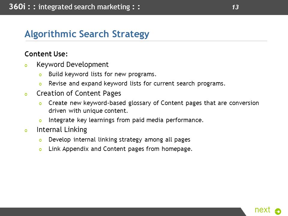 Algorithmic Search Strategy