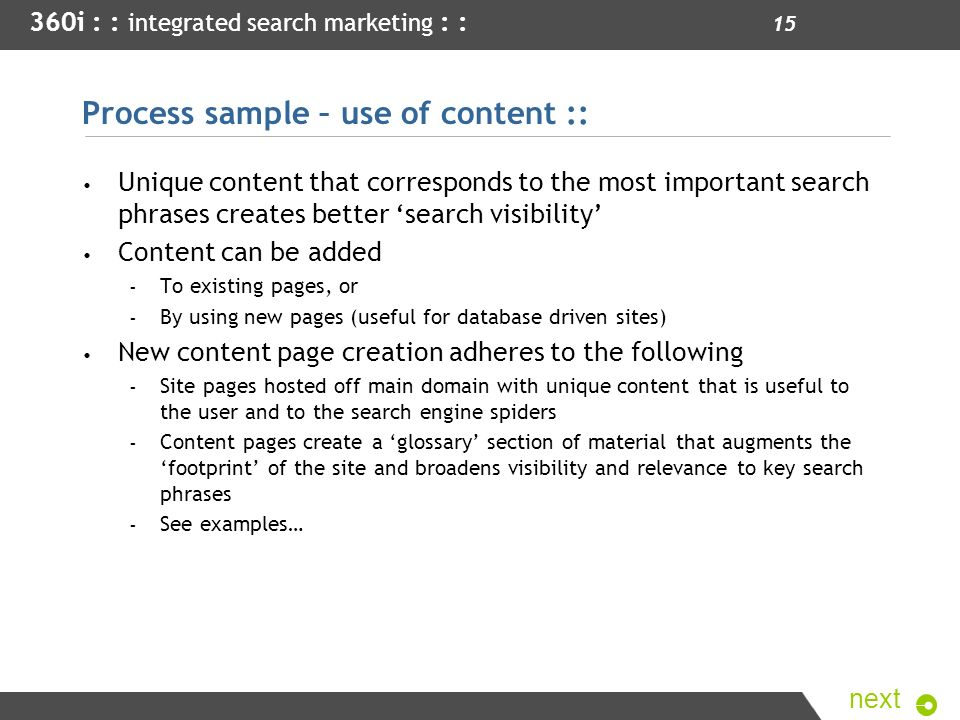 Process sample – use of content ::