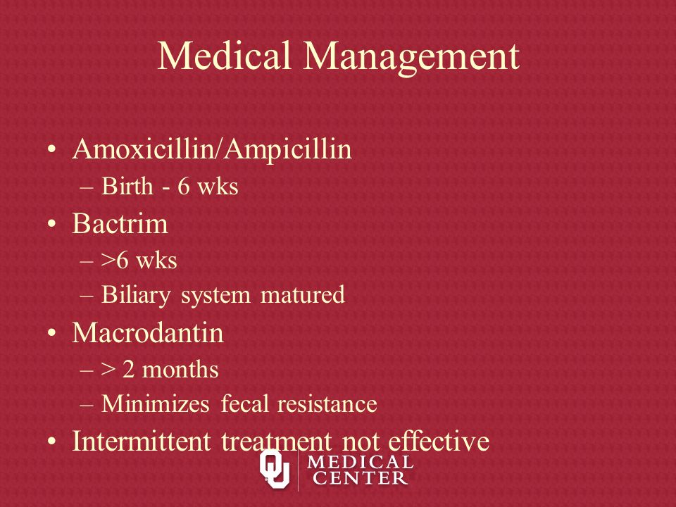 Medical Management Amoxicillin/Ampicillin Bactrim Macrodantin
