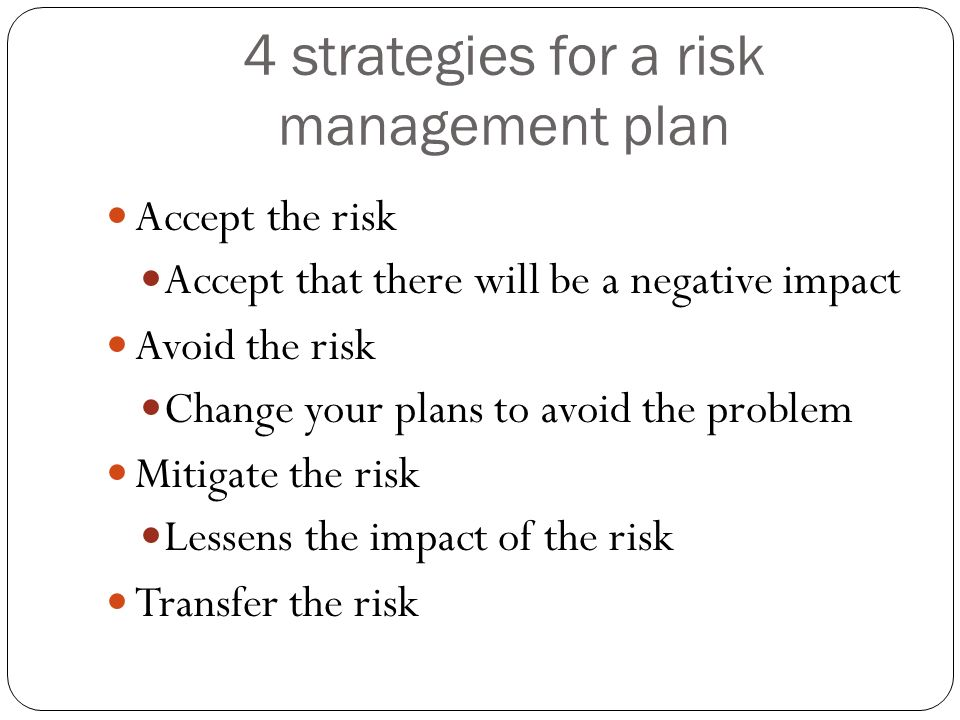 4 strategies for a risk management plan