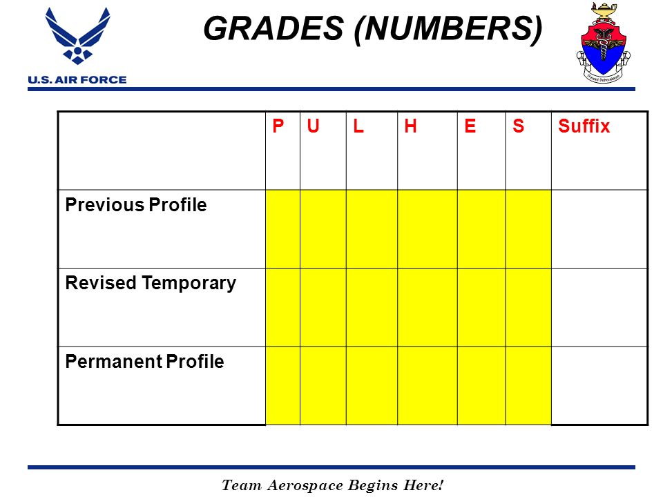 GRADES (NUMBERS) P U L H E S Suffix Previous Profile Revised Temporary