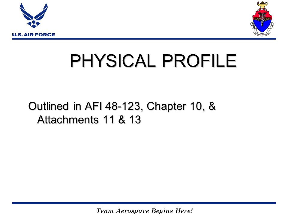 PHYSICAL PROFILE Outlined in AFI , Chapter 10, & Attachments 11 & 13