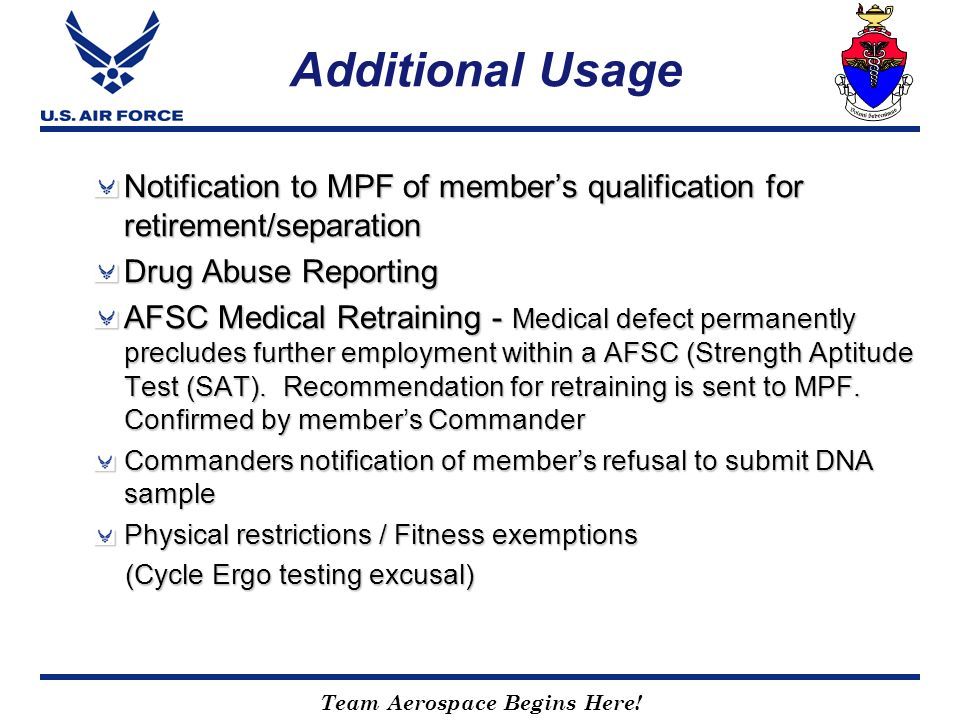 Additional Usage Notification to MPF of member's qualification for retirement/separation. Drug Abuse Reporting.