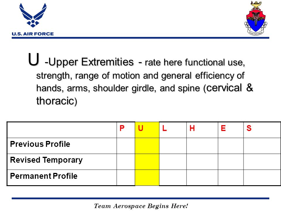 U -Upper Extremities - rate here functional use, strength, range of motion and general efficiency of hands, arms, shoulder girdle, and spine (cervical & thoracic)