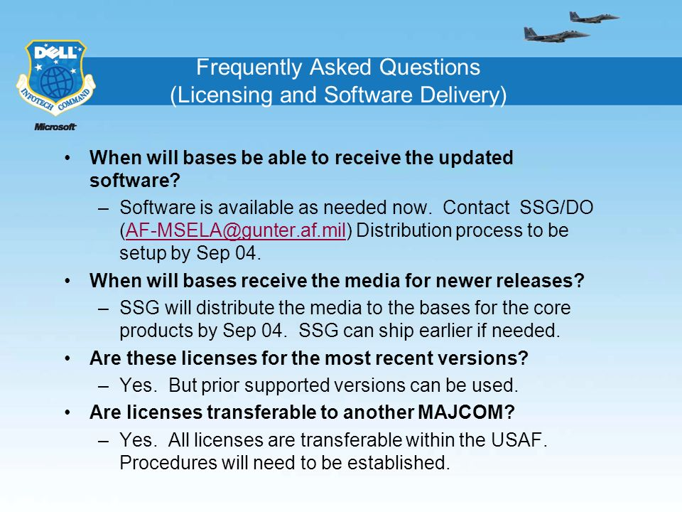 Frequently Asked Questions (Licensing and Software Delivery)