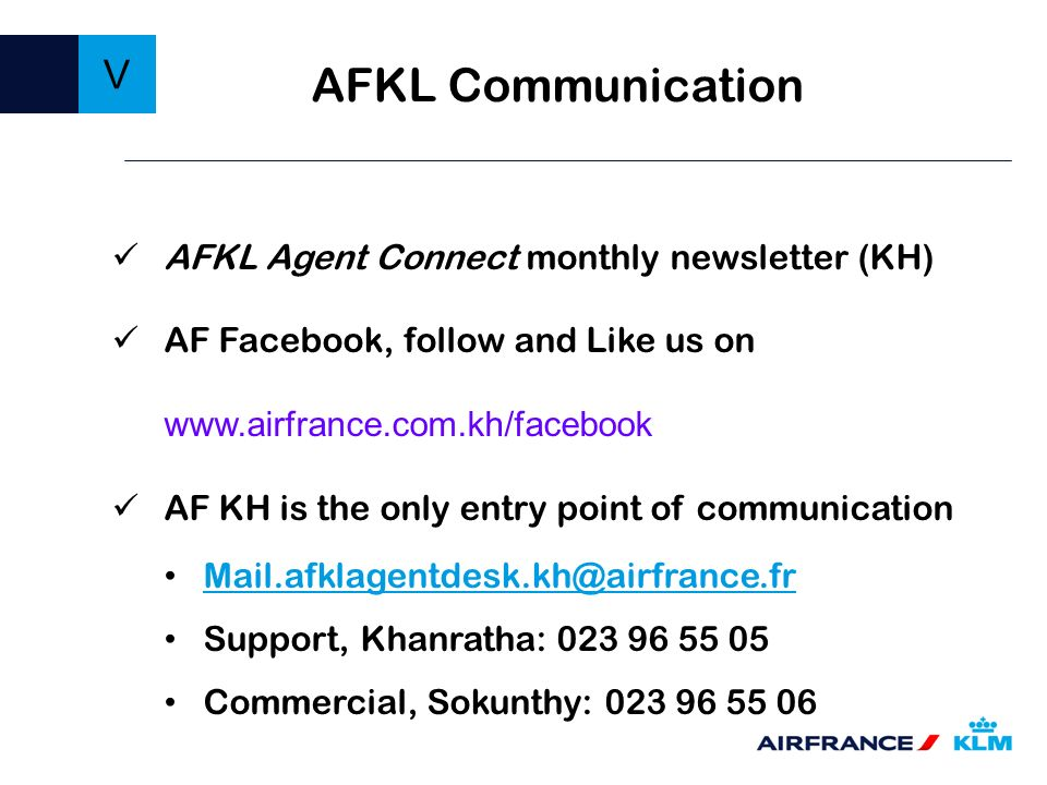 AFKL Communication V AFKL Agent Connect monthly newsletter (KH)