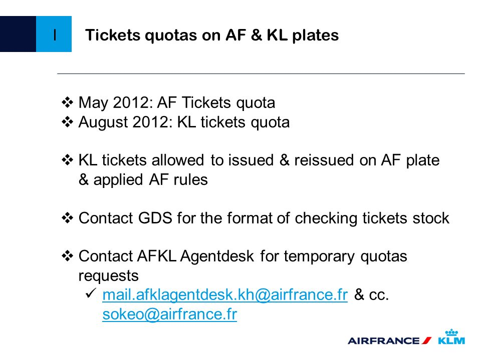 Tickets quotas on AF & KL plates