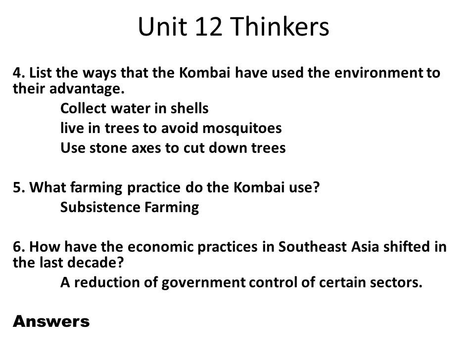 Unit 12 Thinkers 1  Which driving force is leading to