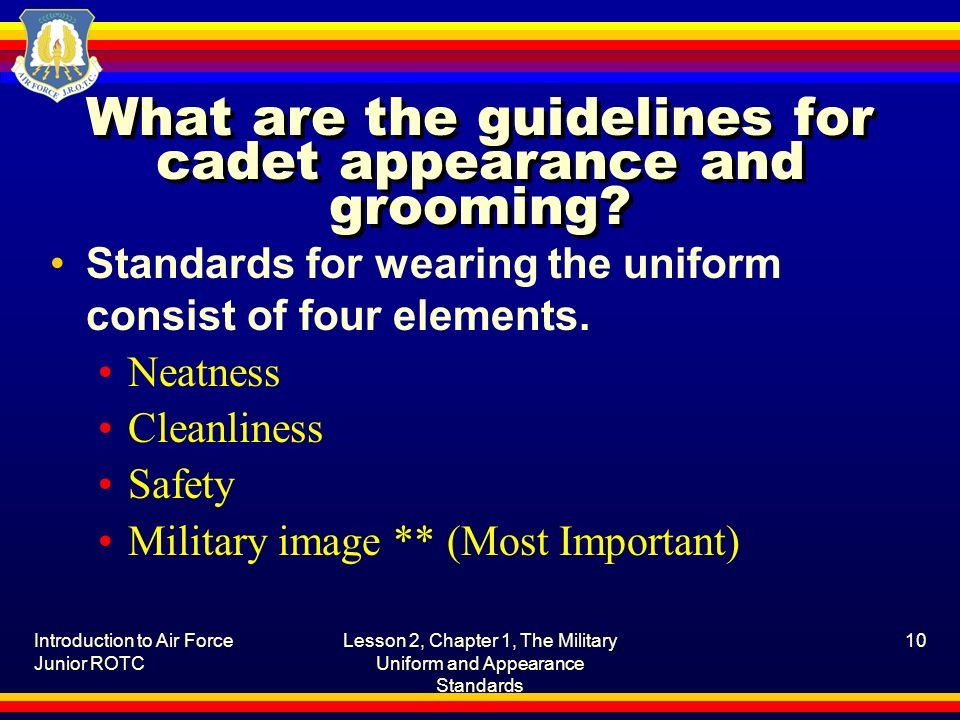 What are the guidelines for cadet appearance and grooming