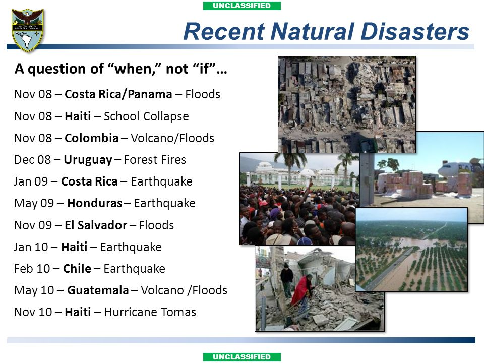 Recent Natural Disasters