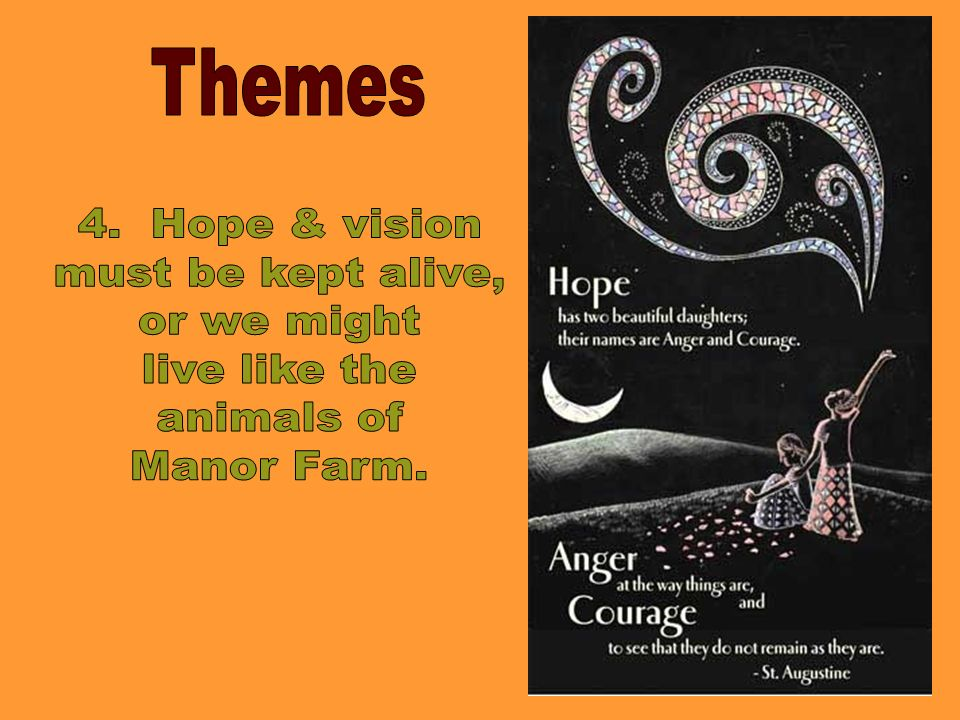 Themes 4. Hope & vision must be kept alive, or we might live like the animals of Manor Farm.