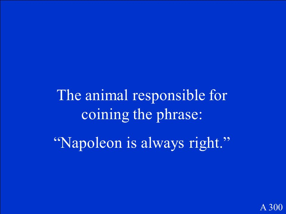 The animal responsible for coining the phrase: