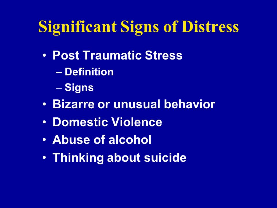 Significant Signs of Distress