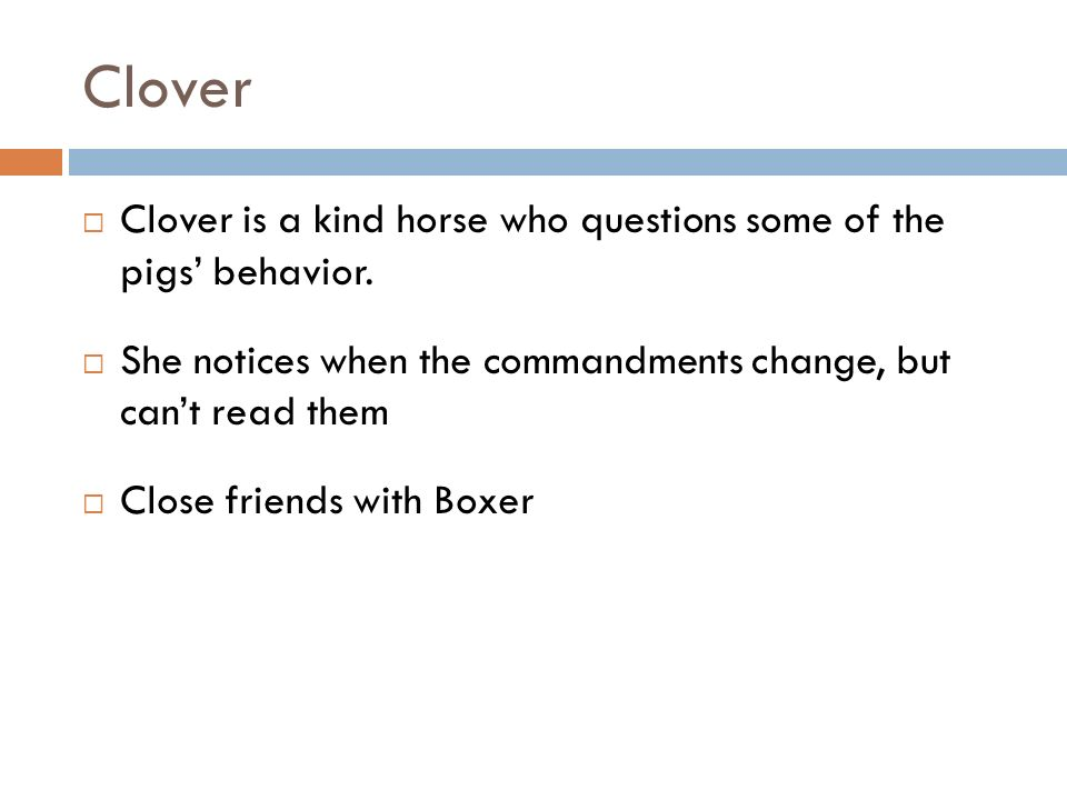 Clover Clover is a kind horse who questions some of the pigs' behavior. She notices when the commandments change, but can't read them.