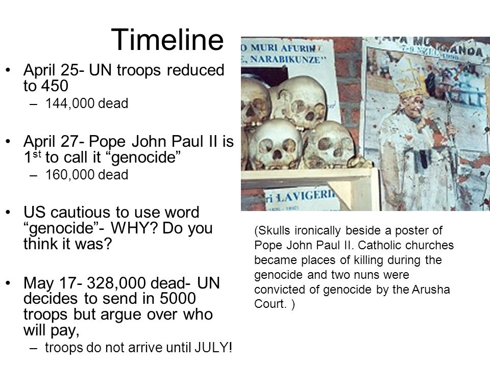 Timeline April 25- UN troops reduced to 450