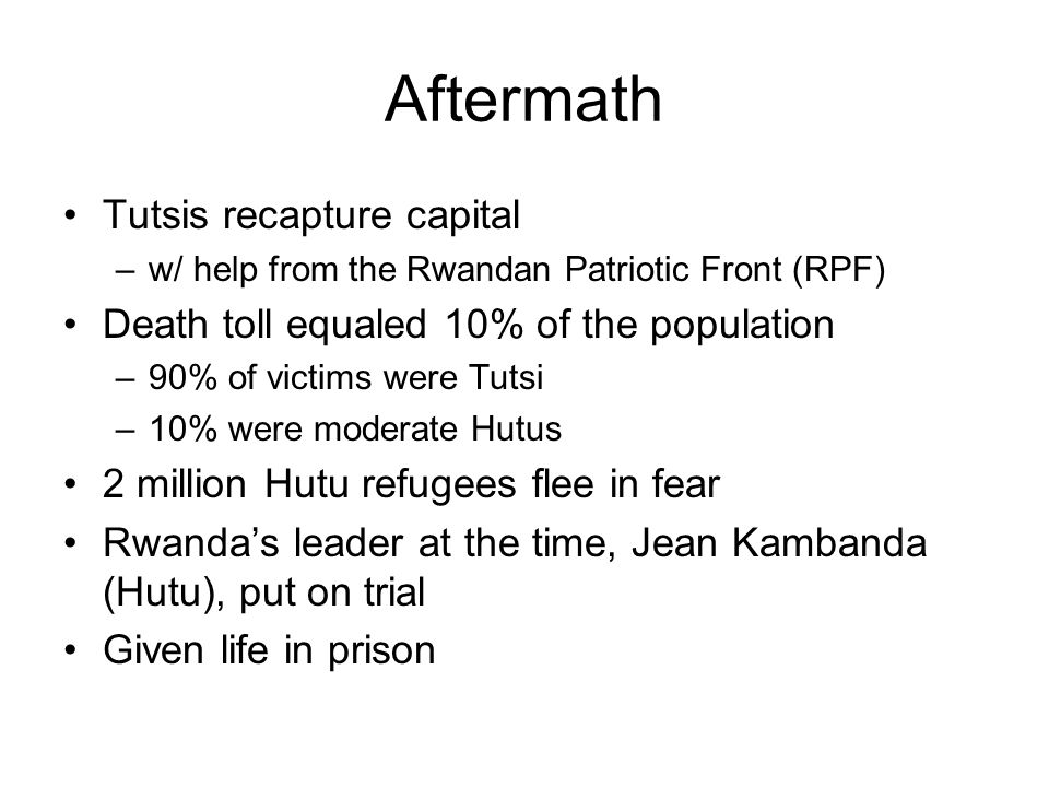 Aftermath Tutsis recapture capital