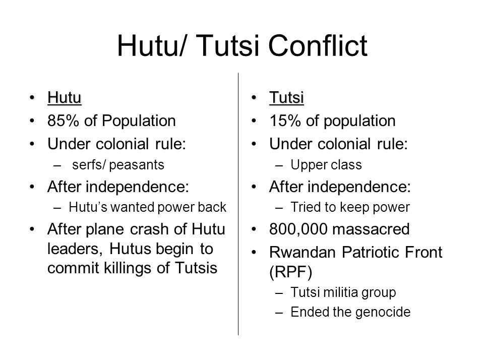 Hutu/ Tutsi Conflict Hutu 85% of Population Under colonial rule: