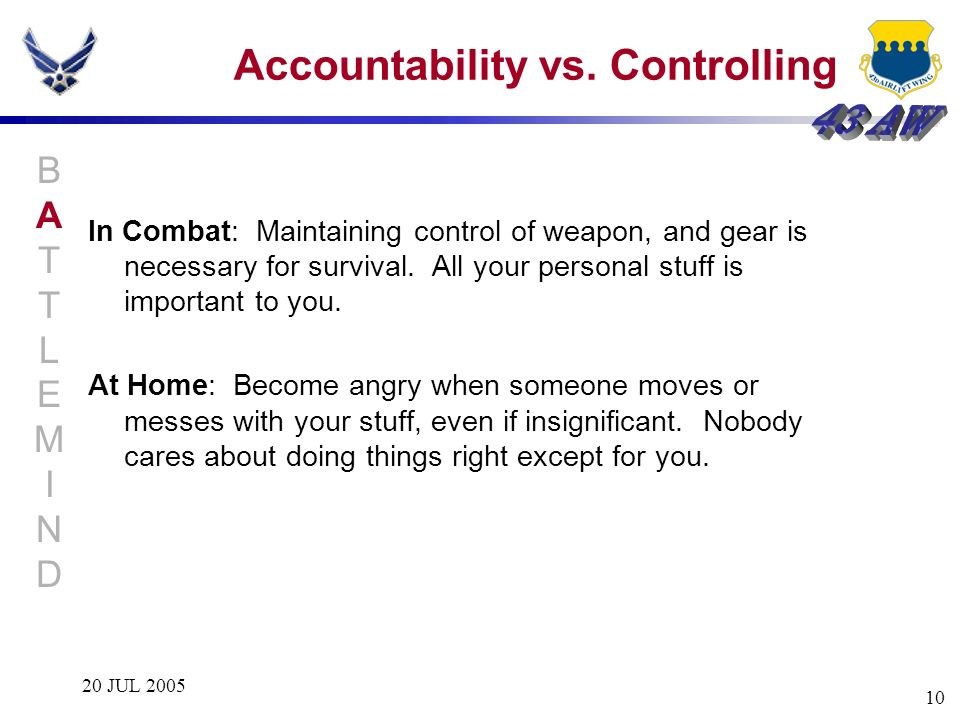 Accountability vs. Controlling