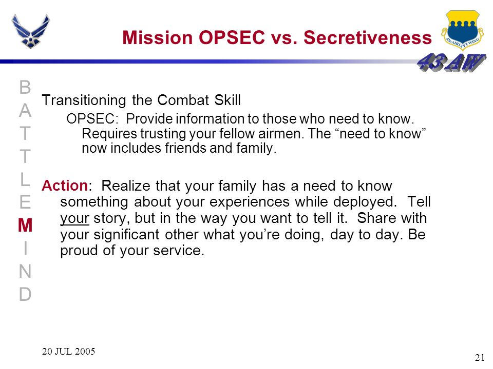 Mission OPSEC vs. Secretiveness