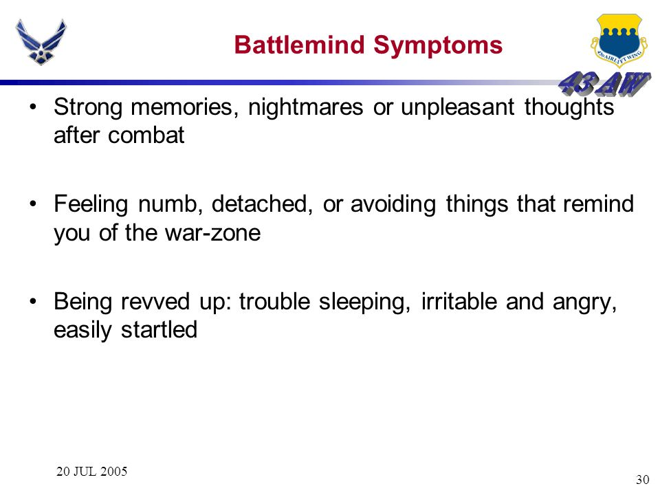 Battlemind Symptoms Strong memories, nightmares or unpleasant thoughts after combat.