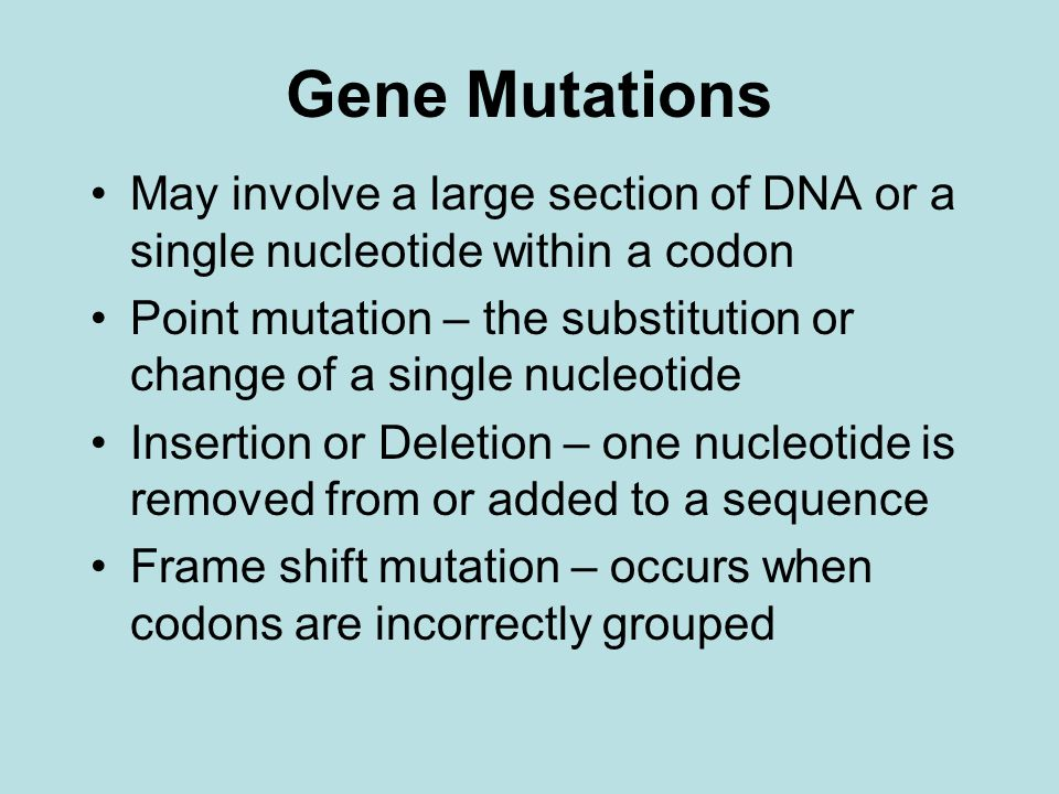 Gene Mutations May involve a large section of DNA or a single nucleotide within a codon.