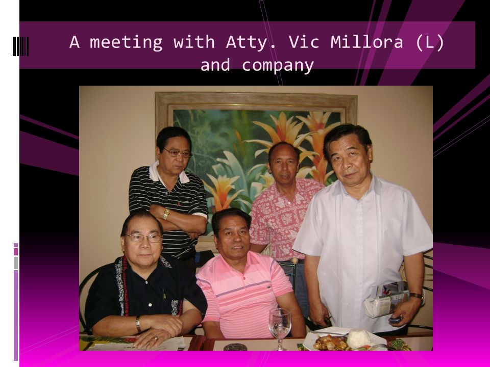 A meeting with Atty. Vic Millora (L) and company