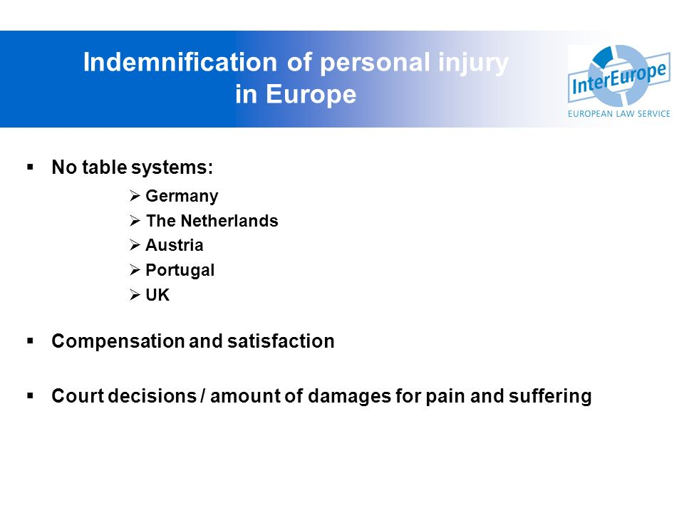 Indemnification of personal injury