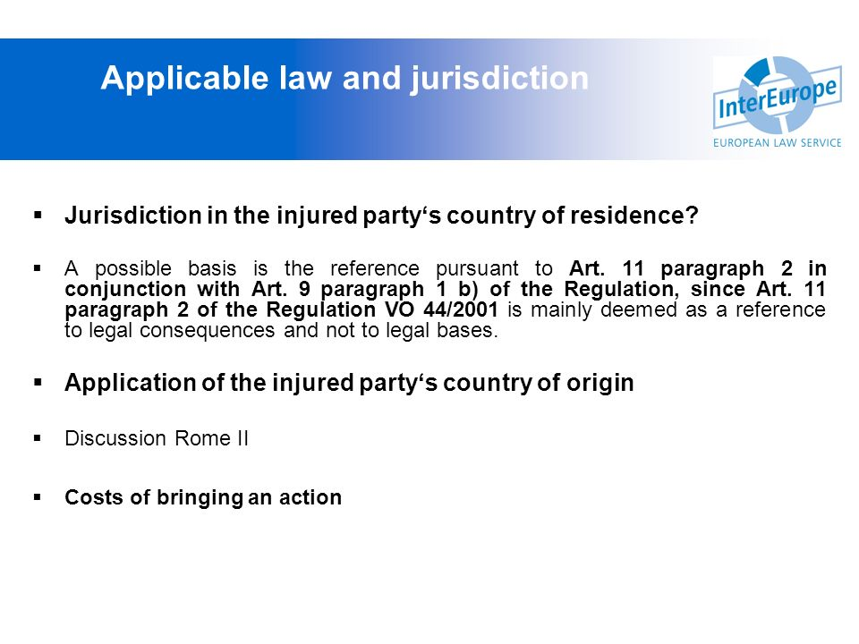 Applicable law and jurisdiction