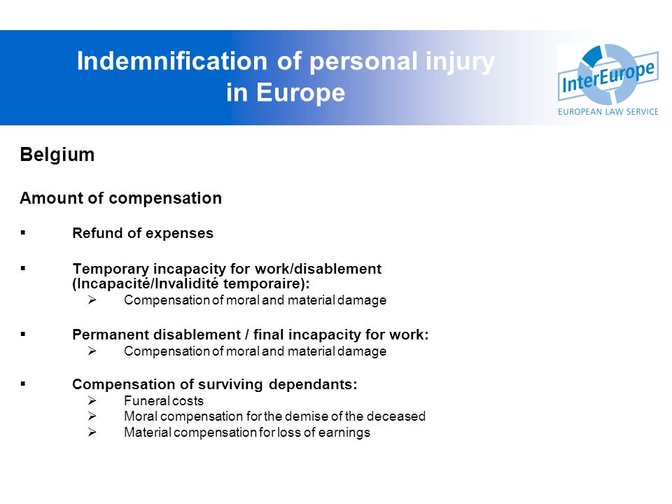 Indemnification of personal injury in Europe