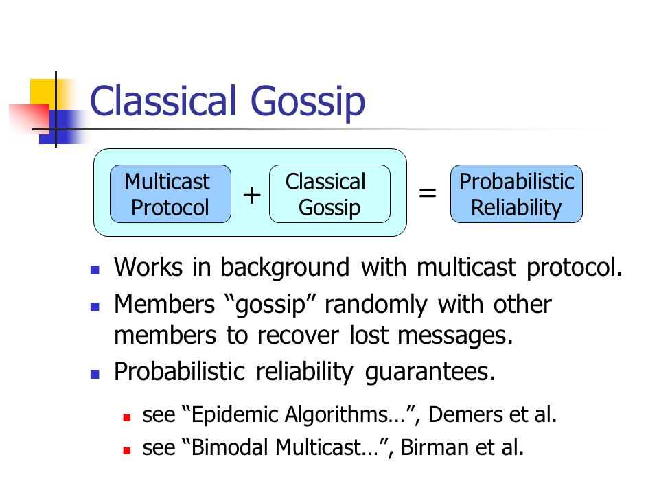 Classical Gossip + = Works in background with multicast protocol.