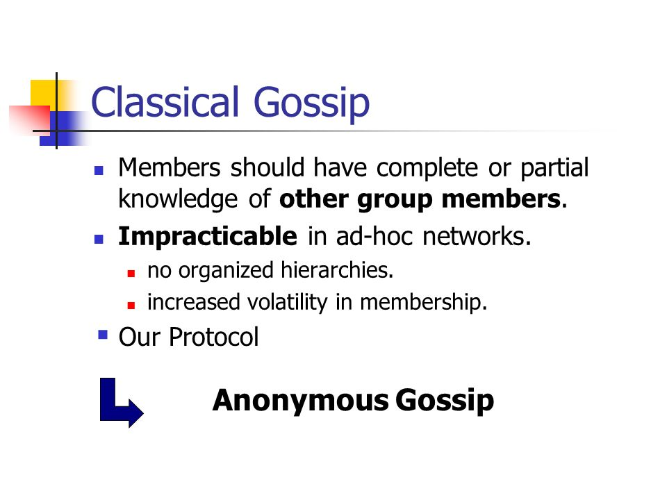Classical Gossip Anonymous Gossip