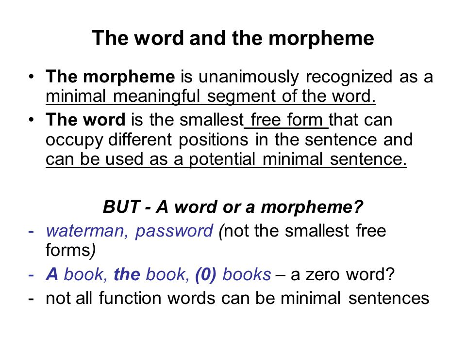 The word and the morpheme