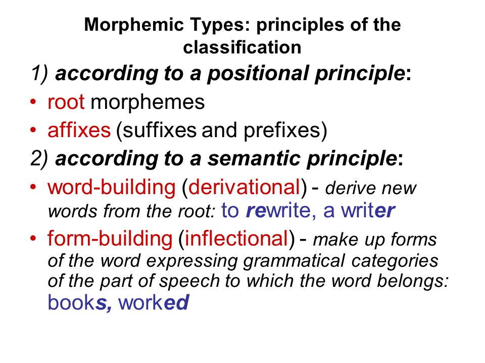 Morphemic Types: principles of the classification