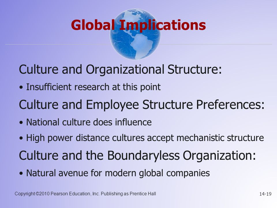 Global Implications Culture and Organizational Structure: