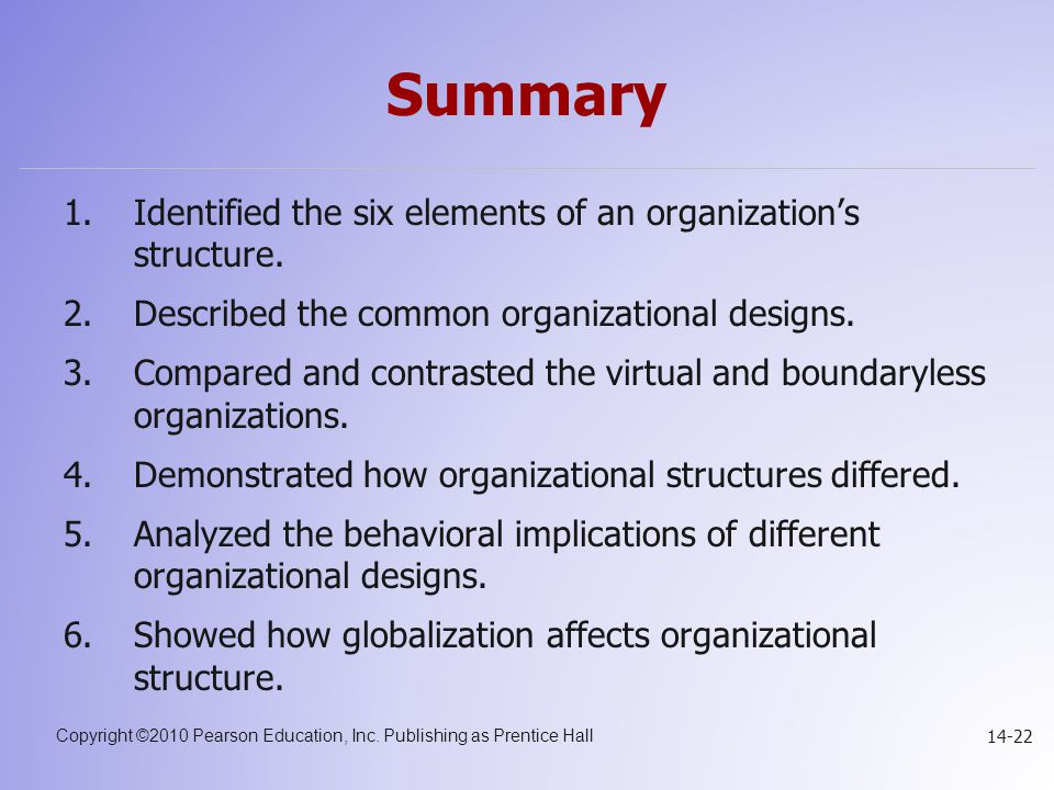 Summary Identified the six elements of an organization's structure.