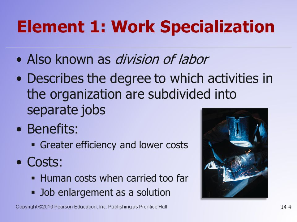 Element 1: Work Specialization
