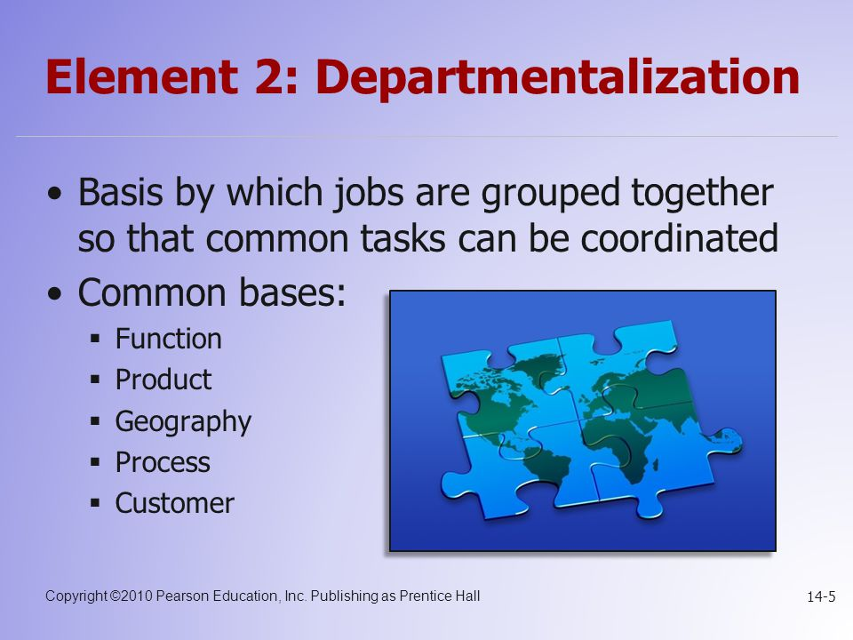 Element 2: Departmentalization
