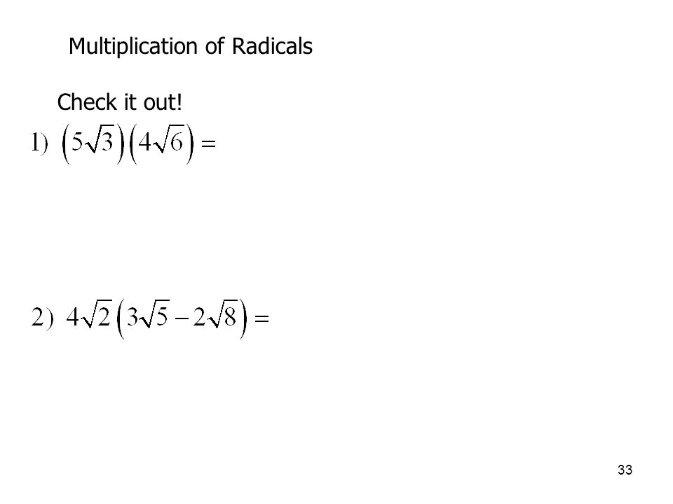 Multiplication of Radicals